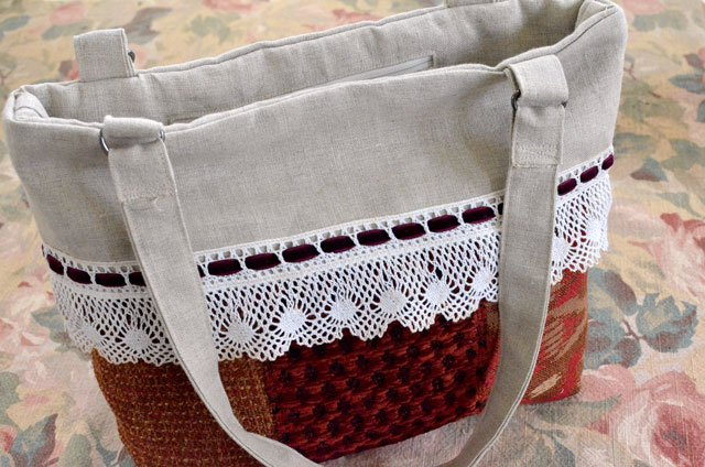 Tutorial: Upholstery sample patchwork tote