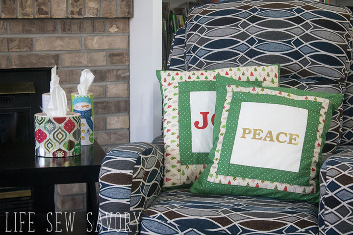 Tutorial: Peace and Joy Christmas pillows