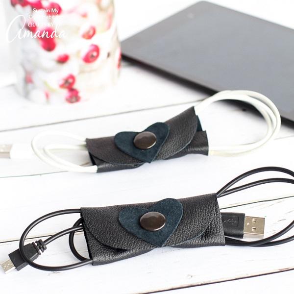 Tutorial: No-sew leather cord organizer