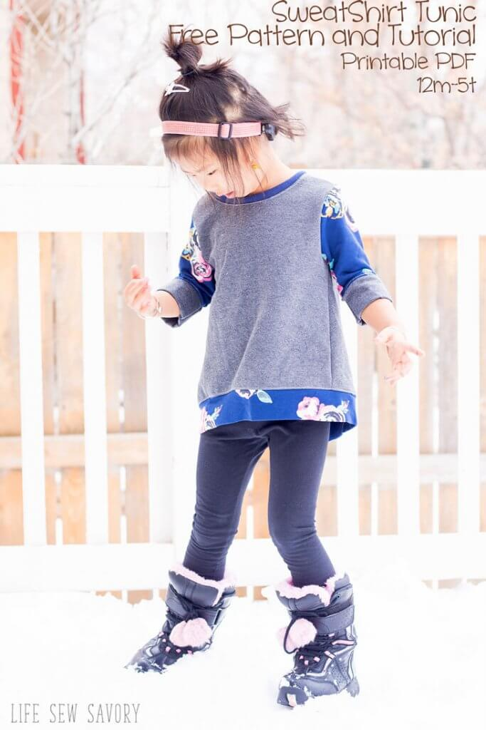 Tutorial and pattern: Little girls sweatshirt tunic