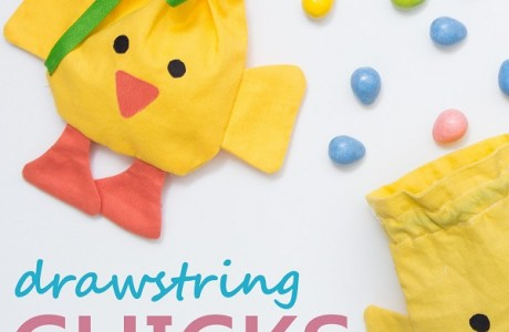 Tutorial and pattern: Easter chick drawstring treat bag