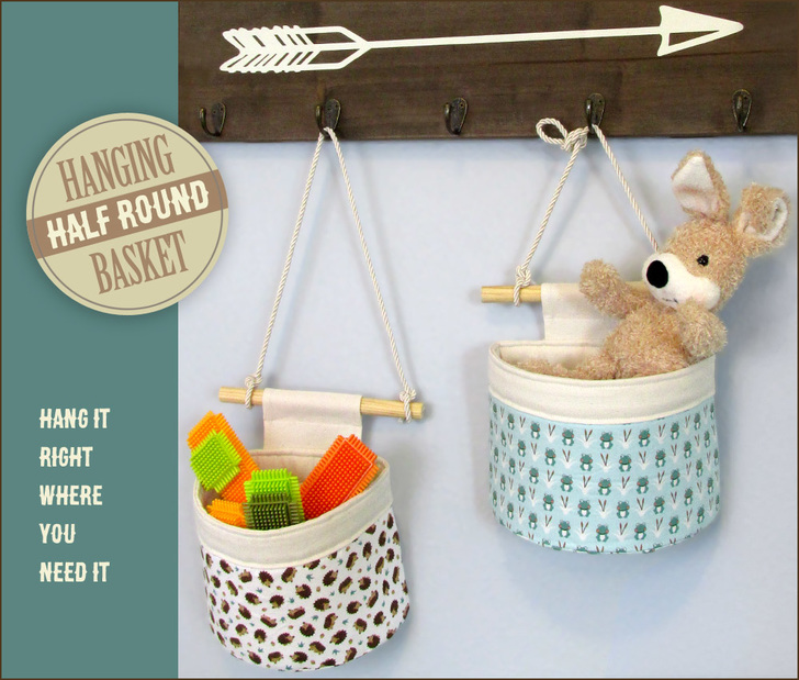 Tutorial and pattern: Half round hanging storage basket