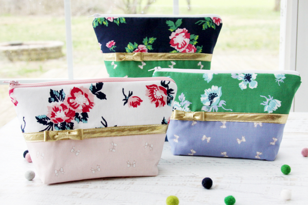 Tutorial: Zipper pouch with mini bow accent