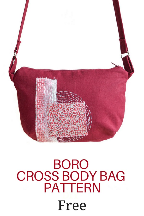 Tutorial and pattern: Boro cross body bag with hand stitched detail