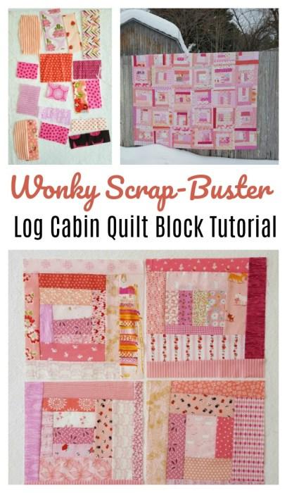 Tutorial: Scrapbusting wonky log cabin quilt block