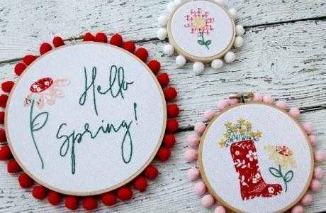 Tutorial and pattern: Spring flowers embroidery hoop art set
