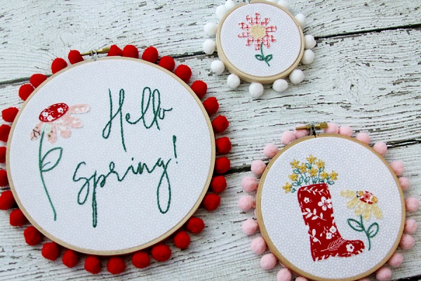 Tutorial and pattern: Spring flowers embroidery hoop art set