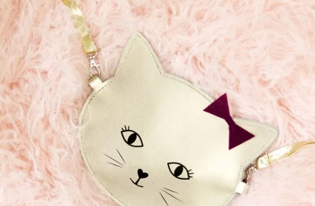 Tutorial and cut files: Gold leather kitty purse