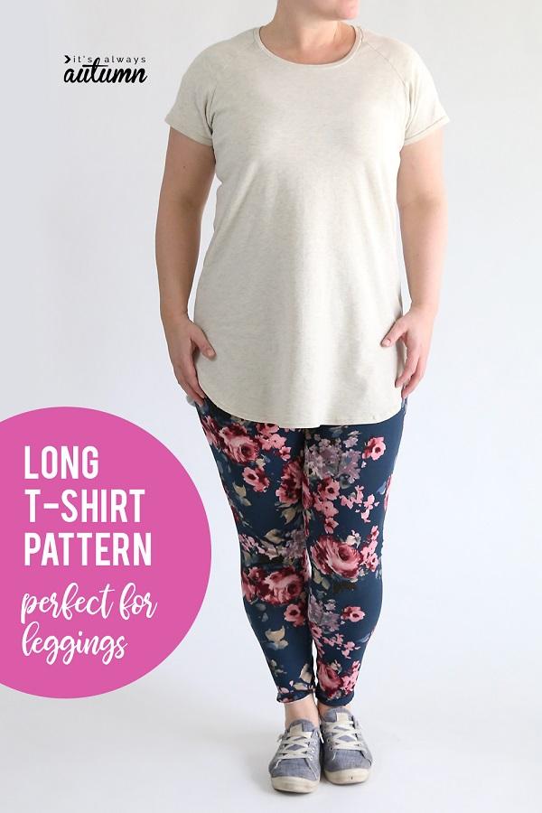 Tutorial and pattern: Long raglan tee to wear with leggings