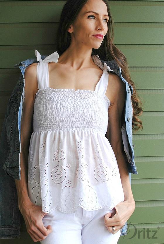 Tutorial Elastic Thread Shirred Top Sewing