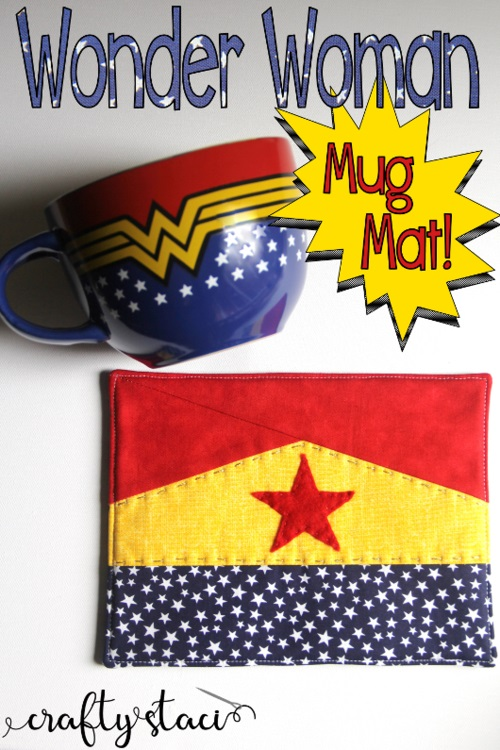 Tutorial and pattern: Easy Wonder Woman mug mat