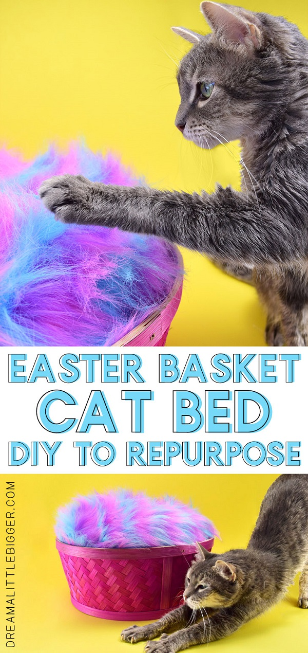 Tutorial: Faux fur cat bed in a repurposed Easter basket