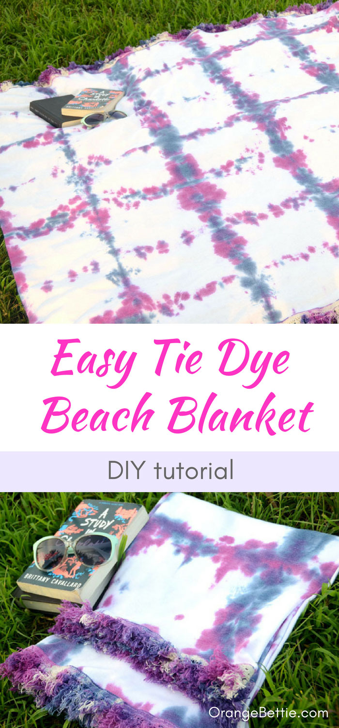 Sewing tutorial: Tie dye beach blanket with cotton fringe