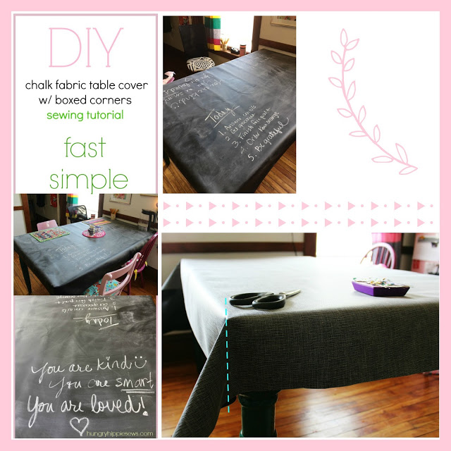 Sewing tutorial: Easy chalk cloth table cover