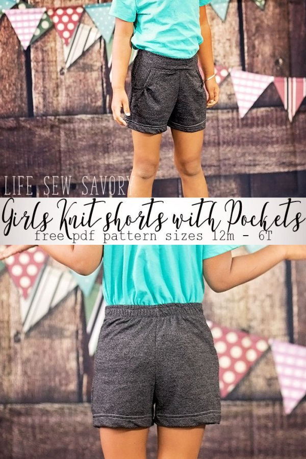 Tutorial and pattern: Girls' flat front knit shorts