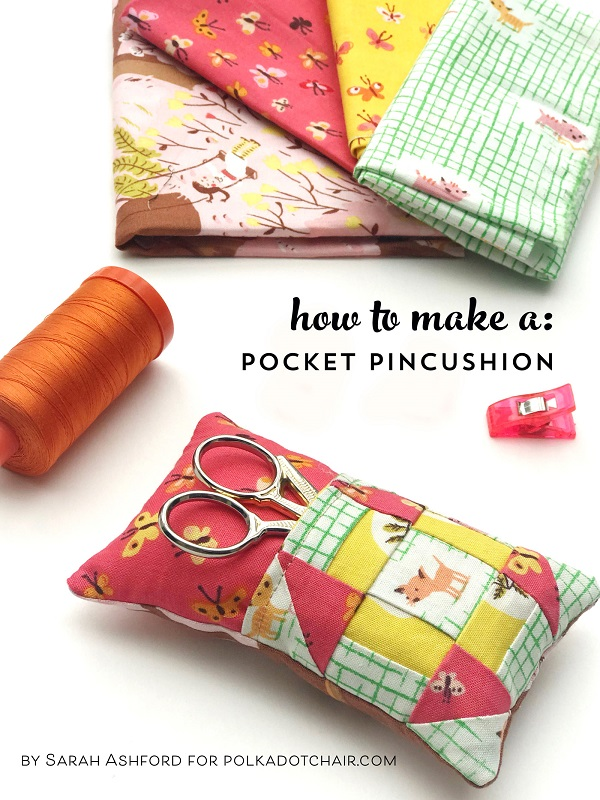 Sewing tutorial: Patchwork pincushion with a scissors pocket