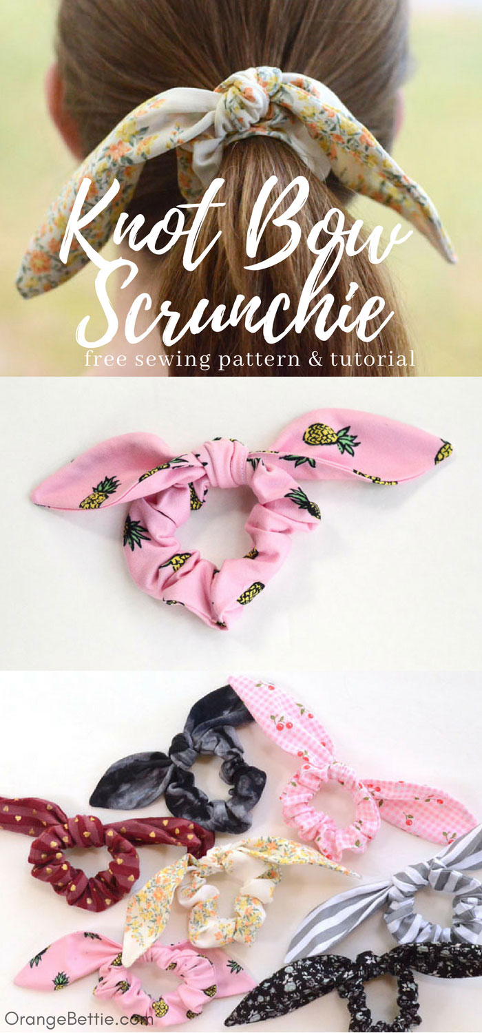 Sewing tutorial: Knot bow scrunchie, with pattern