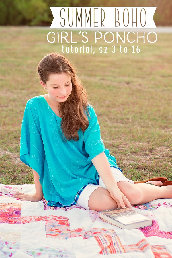 Sewing tutorial: Girls boho poncho top