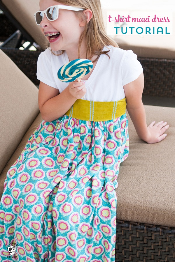 Sewing tutorial: Girl's easy t-shirt maxi dress
