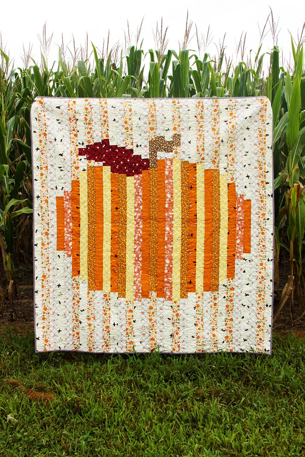 Sewing tutorial: Autumn pumpkin strip quilt