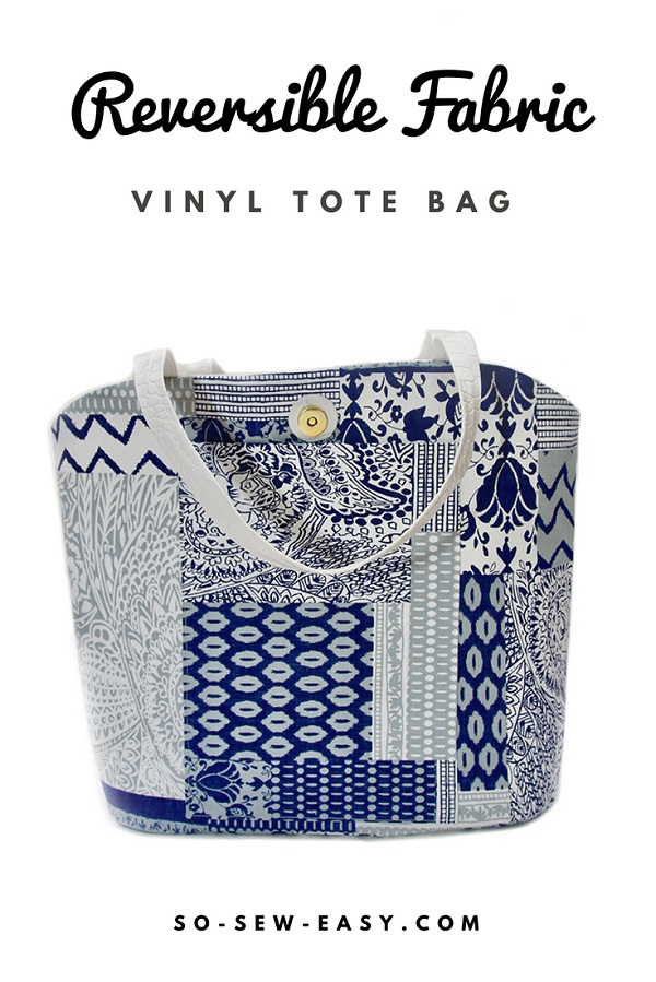 Free sewing pattern: Reversible fabric and vinyl tote bag