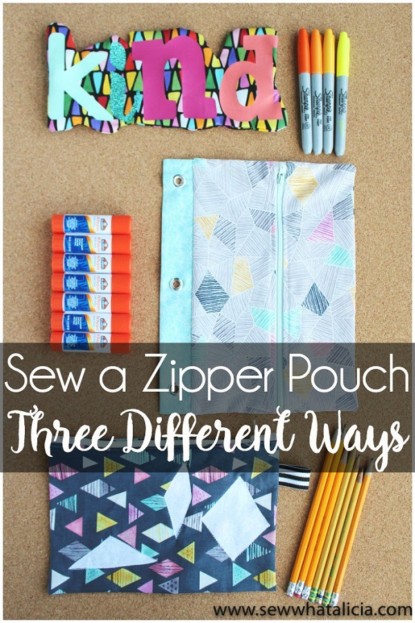 Sewing tutorial: 3 ways to sew a zipper pouch