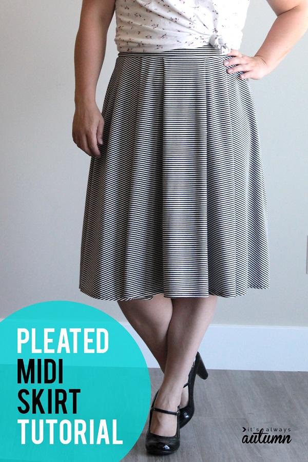 Sewing tutorial: Women's pleated midi skirt