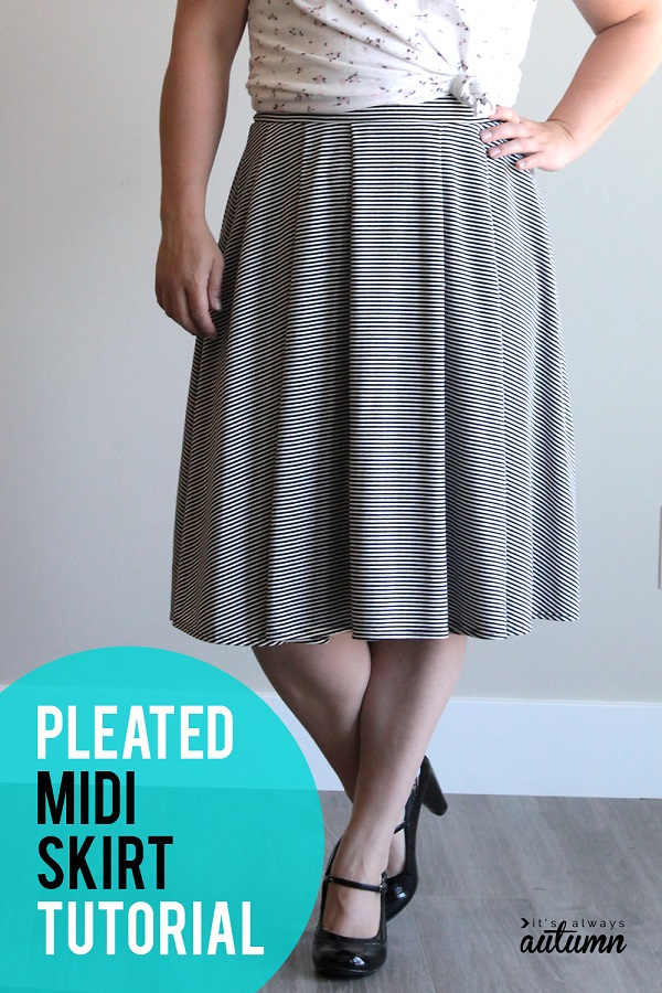Sewing tutorial: Women's pleated midi skirt