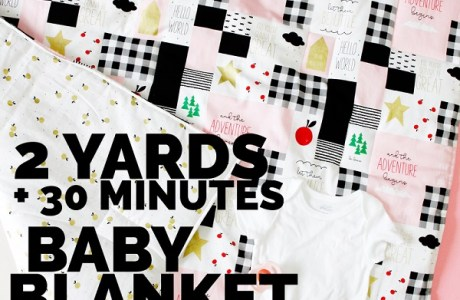 Sewing tutorial: Easy baby blanket from 2 yards of fabric