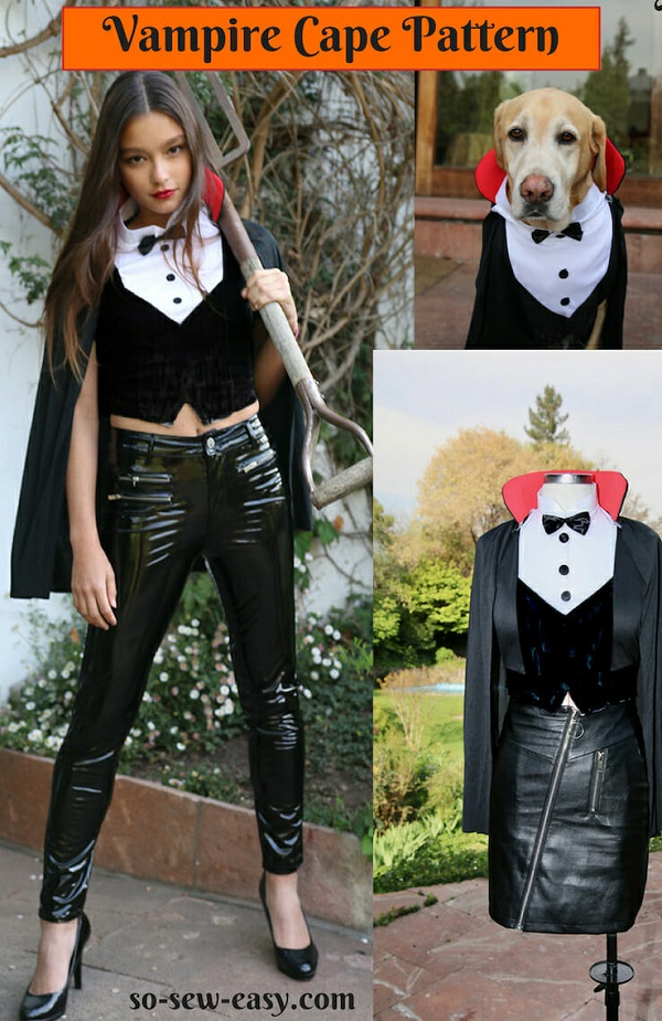 Sewing tutorial: Vampire cape for a Halloween costume
