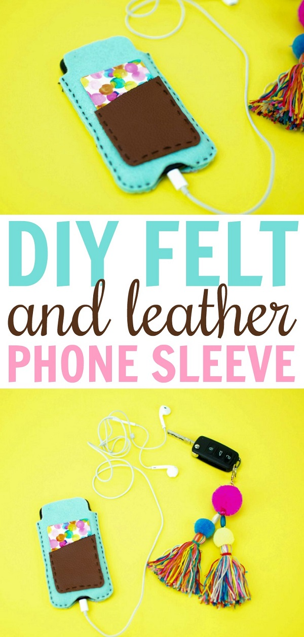 Sewing tutorial: Easy felt and leather phone sleeve