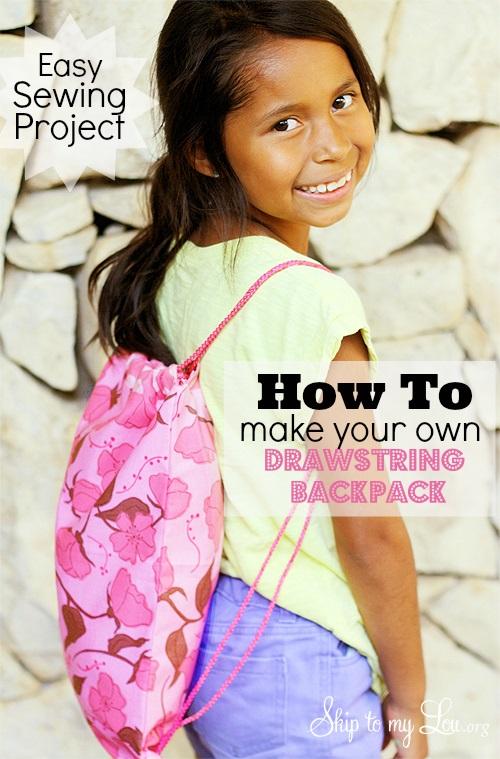 Sewing tutorial: Easy drawstring backpack