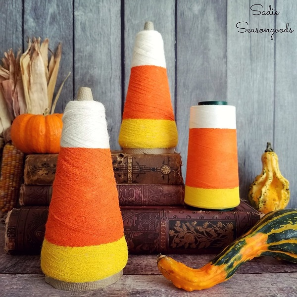 Tutorial: Vintage thread cone candy corn