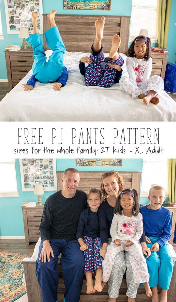 Free sewing pattern: Pajama pants for the entire family