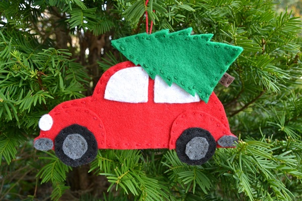 Free Sewing Pattern Felt Christmas Tree Car Ornament Sewing