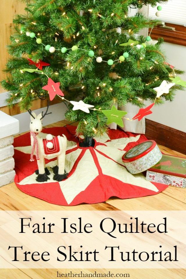 Sewing tutorial: Fair Isle Christmas tree skirt