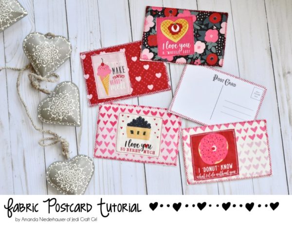Sewing tutorial: Fabric Valentine postcards