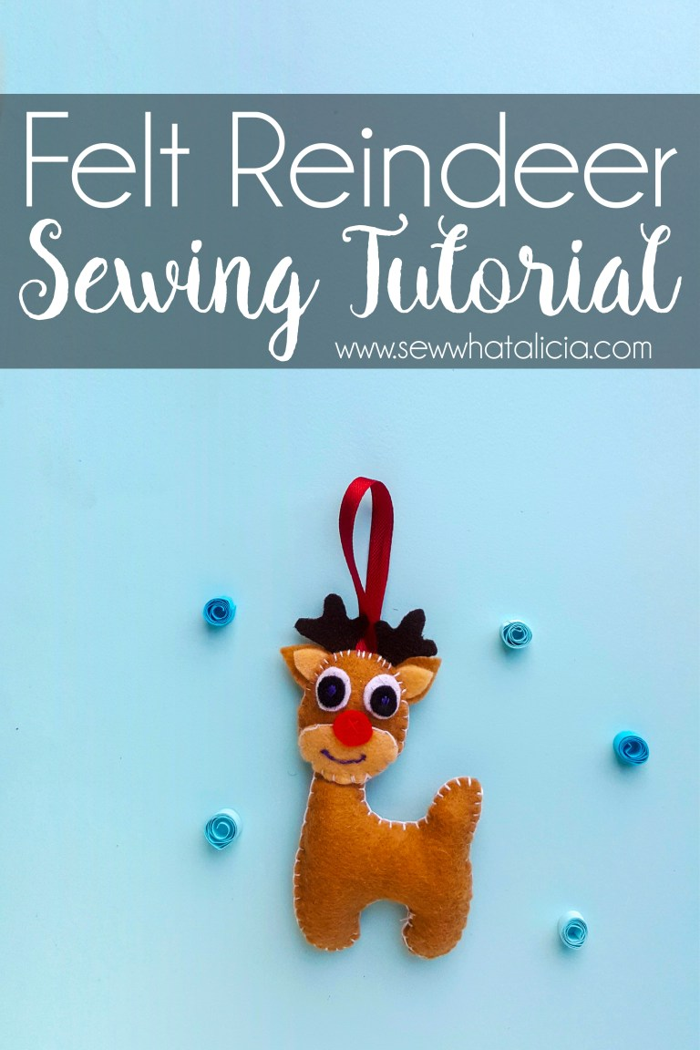Sewing tutorial: Felt reindeer Christmas ornament