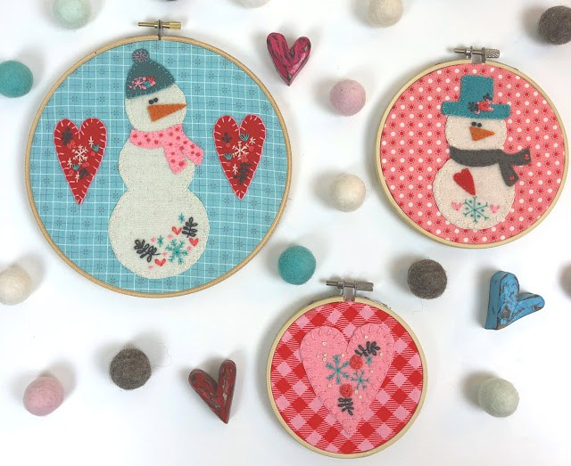 Sewing tutorial: Snowmen and hearts winter embroidery hoop art