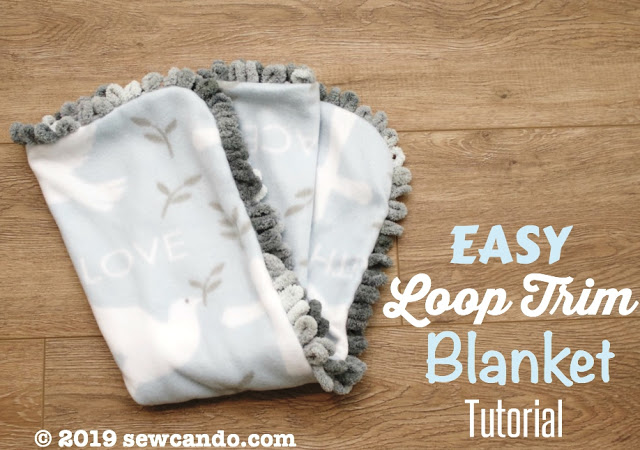 Sewing tutorial: Fleece blanket with loop yarn trim