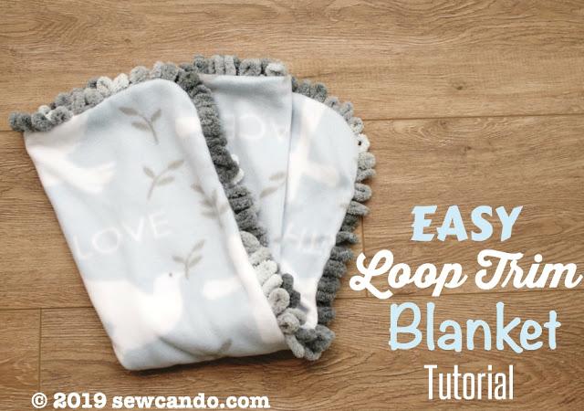 Sewing tutorial: Fleece blanket with loop yarn trim