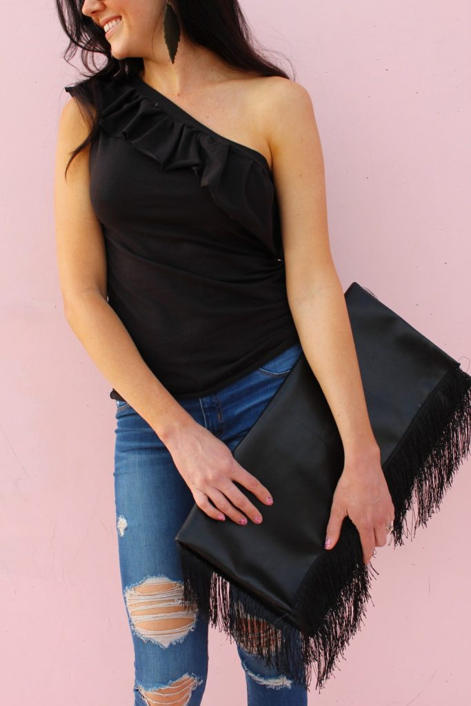Sewing tutorial: One shoulder ruffle t-shirt refashion