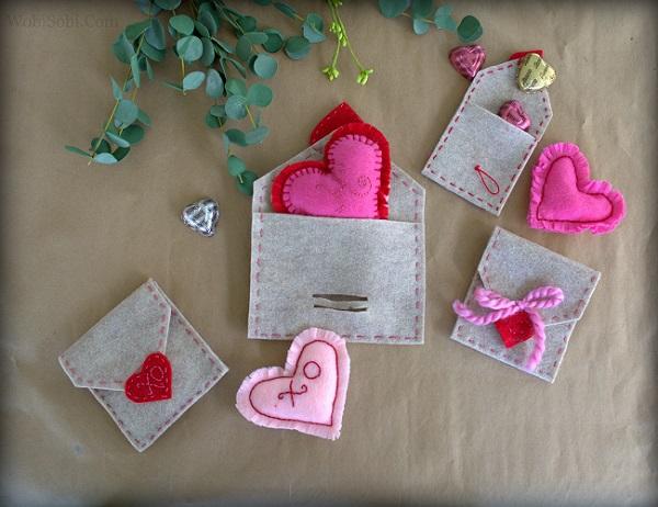 Sewing tutorial: Felt Valentine envelopes