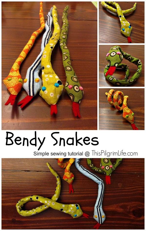 Sewing tutorial: Bendy snake toy