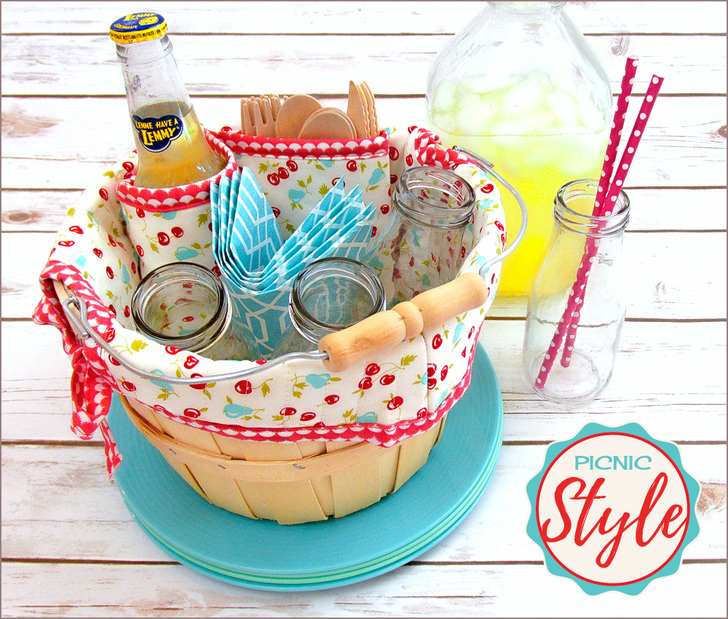 Sewing tutorial: Picnic liner for a mini bushel basket