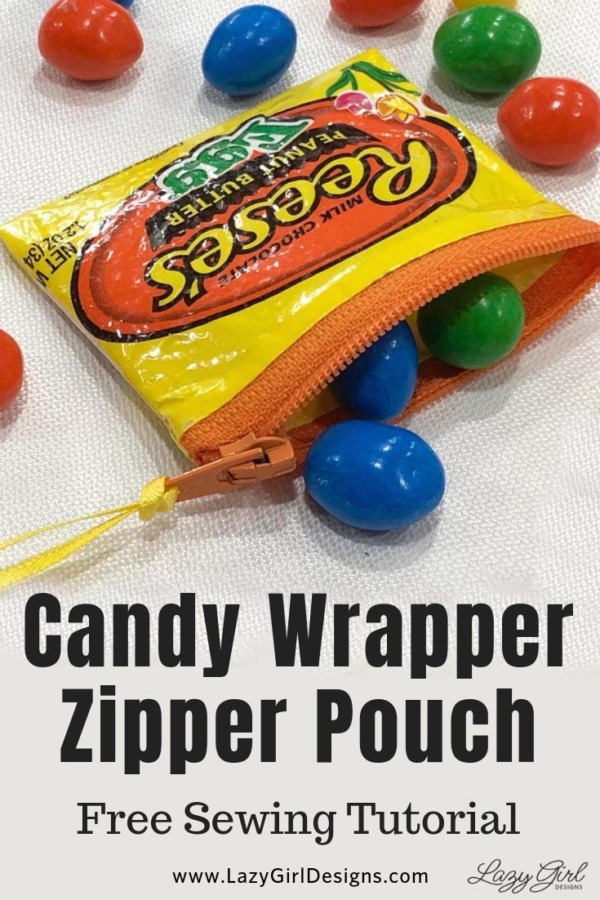 Sewing tutorial: Zip pouch from a candy wrapper