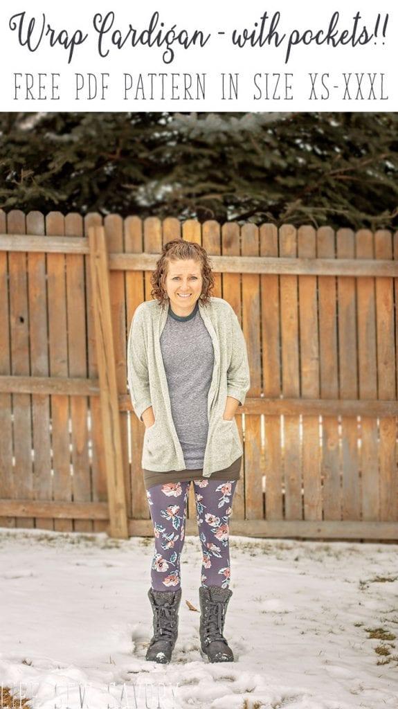 Free pattern: Women's wrap cardigan with pockets