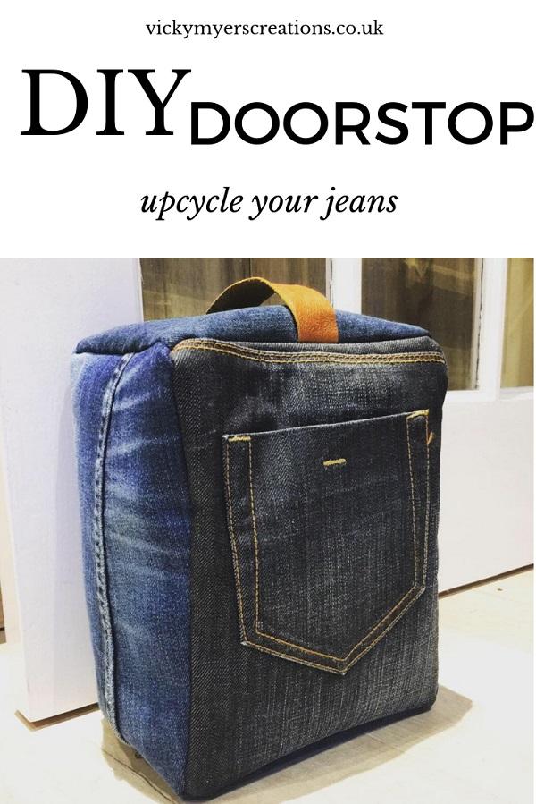 Sewing tutorial: Upcycled denim doorstop