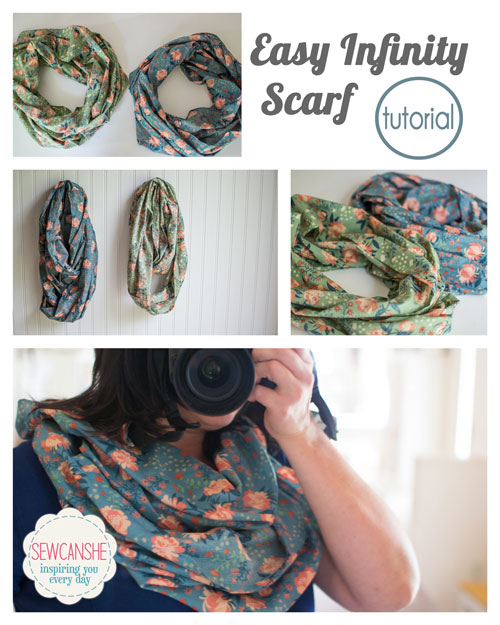 Sewing tutorial: Infinity scarf from a yard of fabric