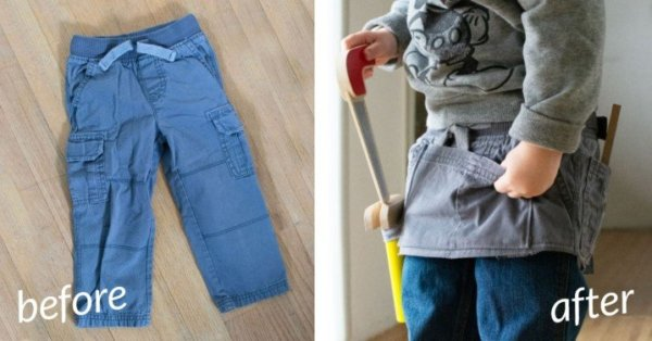 Sewing tutorial: Kids play tool belt from old cargo pants